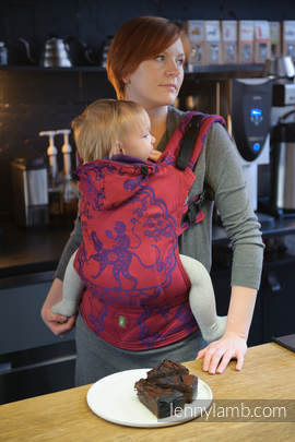 Ergonomic Carrier, Baby Size, jacquard weave 100% cotton - wrap conversion from MICO RED & PURPLE, Second Generation (grade B)