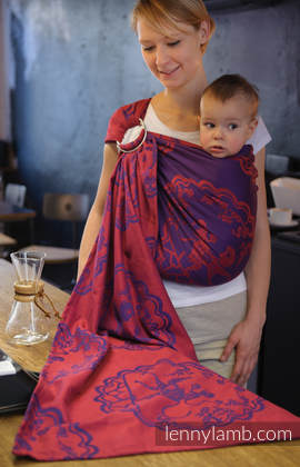 Ringsling, Jacquard Weave (100% cotton), with gathered shoulder - MICO RED & PURPLE (grade B)
