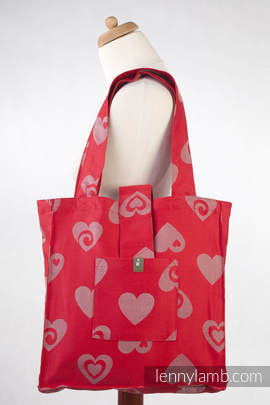 Shoulder bag made of wrap fabric (100% cotton) - SWEETHEART RED & GRAY - standard size 37cmx37cm