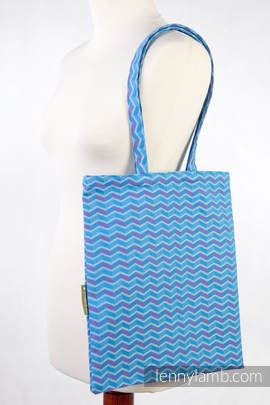 Shopping bag 100% Cotton - ZIGZAG TURQUOISE & PINK