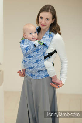 Ergonomic Carrier, Baby Size, jacquard weave 100% cotton - BLUE TWOROOS, Second Generation