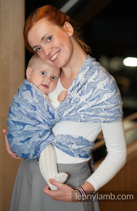 Baby Wrap, Jacquard Weave (100% cotton) - BLUE TWOROOS - size L