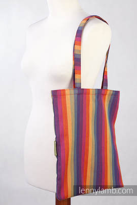 Shopping bag made of wrap fabric (60% cotton, 40% bamboo) - Sunset Rainbow