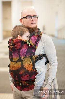 Ergonomic Carrier, Baby Size, jacquard weave 100% cotton - wrap conversion from FEATHERS ON FIRE - Second Generation