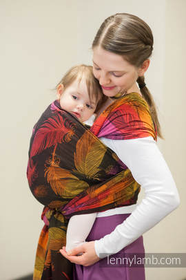 Baby Wrap, Jacquard Weave (100% cotton) - FEATHERS ON FIRE - size XL