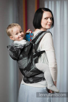 Ergonomic Carrier, Baby Size, jacquard weave 100% cotton - wrap conversion from FEATHERS BLACK & WHITE