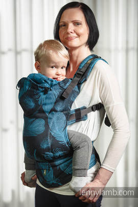 Ergonomic Carrier, Toddler Size, jacquard weave 100% cotton - wrap conversion from FEATHERS TURQUOISE & BLACK (grade B)