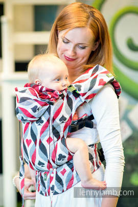 Ergonomic Carrier, Baby Size, jacquard weave 100% cotton - QUEEN OF HEARTS - Second Generation