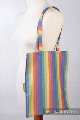 Shopping bag made of wrap fabric (60% cotton, 40% bamboo) - Sunrise Rainbow