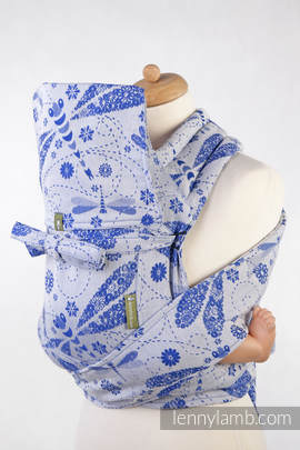 Mei Tai carrier Toddler with hood/ jacquard twill / 100% cotton / DRAGONFLY WHITE & BLUE
