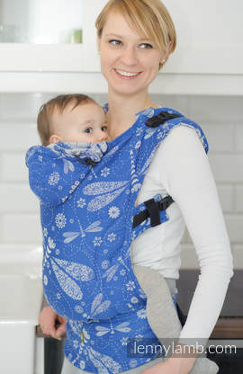 Ergonomic Carrier, Baby Size, jacquard weave 100% cotton - DRAGONFLY BLUE & WHITE - Second Generation