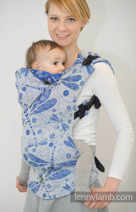 Ergonomic Carrier, Baby Size, jacquard weave 100% cotton - DRAGONFLY WHITE & BLUE - Second Generation
