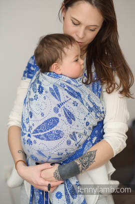 Baby Wrap, Jacquard Weave (100% cotton) - DRAGONFLY BLUE & WHITE - size S