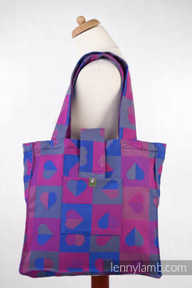 Shoulder bag made of wrap fabric (100% cotton) - HEARTBEAT - CHLOE - standard size 37cmx37cm(grade B)