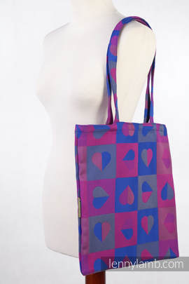 Shopping bag made of wrap fabric (100% cotton) - HEARTBEAT - CHLOE - standard size 33cmx39cm