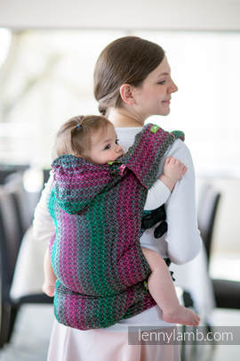 Ergonomic Carrier, Baby Size, jacquard weave 100% cotton - wrap conversion from LITTLE LOVE - ORCHID, Second Generation