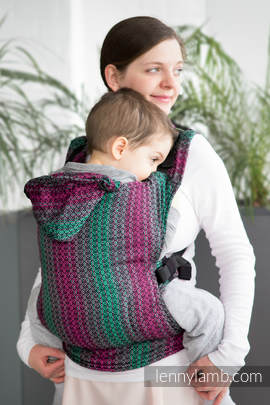 Ergonomic Carrier, Baby Size, jacquard weave 100% cotton - wrap conversion from LITTLE LOVE - ORCHID, Second Generation (grade B)