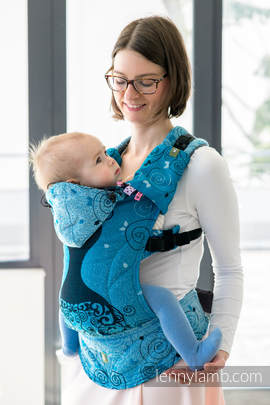 Ergonomic Carrier, Baby Size, jacquard weave 100% cotton - wrap conversion from BLUE PRINCESS, Second Generation