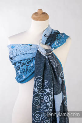 Ringsling, Jacquard Weave (100% cotton), with gathered shoulder - BLUE PRINCESSA