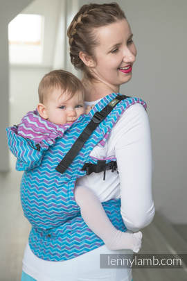 Ergonomic Carrier, Toddler Size, jacquard weave 100% cotton - wrap conversion from ZigZag Turquoise & Pink - Second Generation.