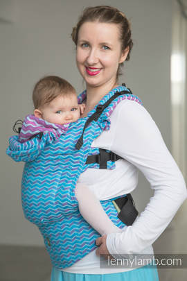 Ergonomic Carrier, Baby Size, jacquard weave 100% cotton - wrap conversion from ZigZag Turquoise & Pink - Second Generation.