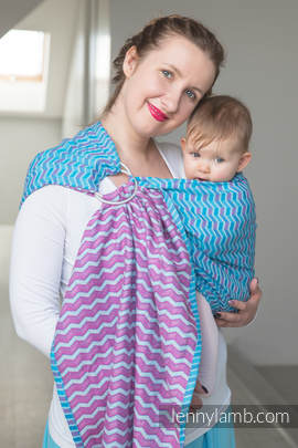 Ringsling, Jacquard Weave (100% cotton) - ZigZag Turquoise & Pink