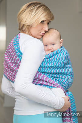 Baby Wrap, Jacquard Weave (100% cotton) - ZIGZAG TURQUOISE & PINK - size L