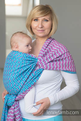 Baby Wrap, Jacquard Weave (100% cotton) - ZIGZAG TURQUOISE & PINK - size XS