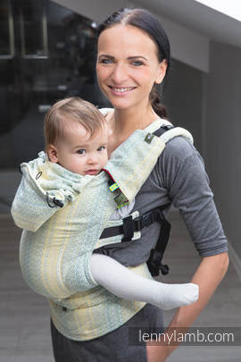 Ergonomic Carrier, Baby Size, jacquard weave 100% cotton - wrap conversion from LITTLE LOVE - GOLDEN TULIP, Second Generation