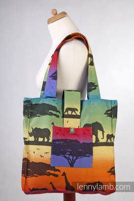 Shoulder bag made of wrap fabric (100% cotton) - RAINBOW SAFARI 2.0 - standard size 37cmx37cm (grade B)