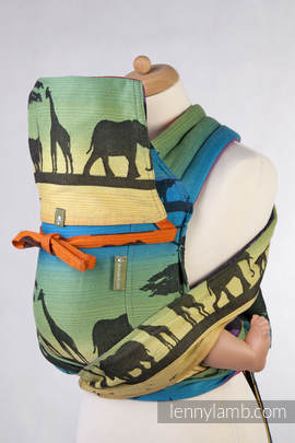 Mei Tai carrier Toddler with hood/ jacquard twill / 100% cotton /  RAINBOW SAFARI 2.0 (grade B)