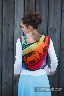 Baby Wrap, Jacquard Weave (100% cotton) - RAINBOW SAFARI 2.0 - size L (grade B)