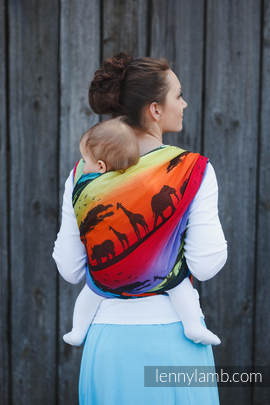 Baby Wrap, Jacquard Weave (100% cotton) - RAINBOW SAFARI 2.0 - size S (grade B)