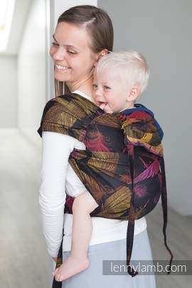 WRAP-TAI carrier Toddler with hood/ jacquard twill / 100% cotton / FEATHERS ON FIRE