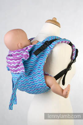 Lenny Buckle Onbuhimo, standard size, jacquard weave (100% cotton) - Wrap conversion from ZIGZAG TURQUOISE & PINK