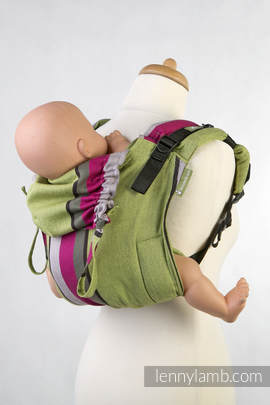 Lenny Buckle Onbuhimo, toddler size, broken-twill weave (100% cotton) - Wrap conversion from LIME & KHAKI