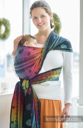 Baby Wrap, Jacquard Weave (100% cotton) - RAINBOW LACE DARK - size XS (grade B)