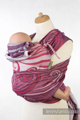 WRAP-TAI carrier Mini with hood/ jacquard twill / 100% cotton / MAROON WAVES (grade B)