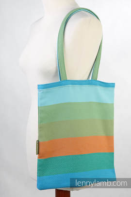 Shopping bag made of wrap fabric (100% cotton) - LITTLE HERRINGBONE SUNFLOWER