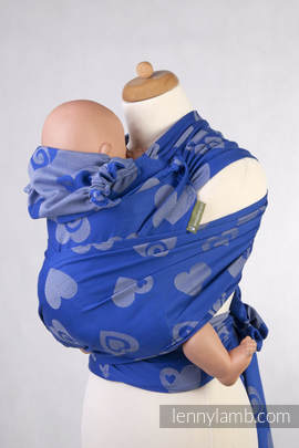 WRAP-TAI carrier Mini with hood/ jacquard twill / 100% cotton / SWEETHEART BLUE & GREY (grade B)