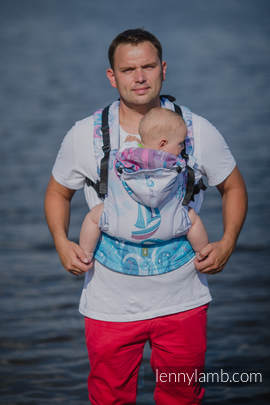 Ergonomic Carrier, Toddler Size, jacquard weave 100% cotton - wrap conversion from HIGH TIDE, Second Generation