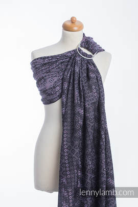 Ringsling, Jacquard Weave (100% cotton), with gathered shoulder - ENIGMA PURPLE (grade B)
