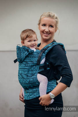 Ergonomic Carrier, Baby Size, jacquard weave 100% cotton - wrap conversion from ENIGMA BLUE, Second Generation