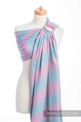 Ringsling, Jacquard Weave (100% cotton), with gathered shoulder - LITTLE LOVE - DAYBREAK (grade B)