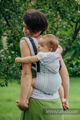 Ergonomic Carrier, Toddler Size, jacquard weave 60% cotton, 28% merino wool, 8% silk, 4% cashmere - wrap conversion from LITTLE LOVE - ROSE GARDEN, Second Generation