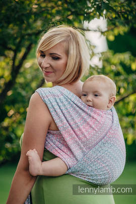 Baby Wrap, Jacquard Weave (60% cotton, 28% merino wool, 8% silk, 4% cashmere) - LITTLE LOVE - ROSE GARDEN - size S (grade B)