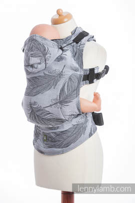 Ergonomic Carrier, Toddler Size, jacquard weave 100% cotton - wrap conversion from FEATHERS BLACK & WHITE REVRESE