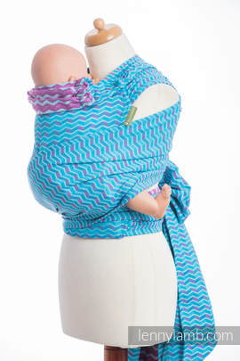 WRAP-TAI carrier Toddler with hood/ jacquard twill / 100% cotton / ZIGZAG TURQUOISE & PINK