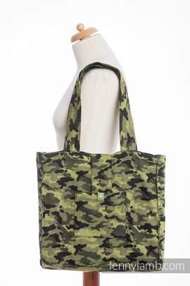 Shoulder bag made of wrap fabric (100% cotton) - GREEN CAMO - standard size 37cmx37cm