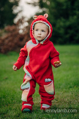 Bear Romper with baby booties - size 74 -  red with Little Herringbone Imagination
